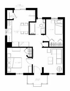 Anjou 4 1/2 bas Duplex, stationnement, grande cour. Rénové 2016