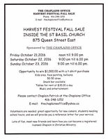 TABLES STILL AVAILABLE FOR THE HARVEST FESTIVAL AND FALL SALE