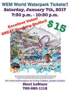 WEM Water Park Tickets For January 7th, 2017!!