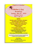 No Cooking!!  Mother's Day Breakfast  Sunday May 8, 2016.