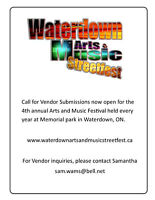MAY  LONG WEEKEND, VENDORS WANTED, WATERDOWN MUSIC FESTIVAL