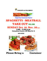 SUN. Oct.16, Nov. 20 K of CSpaghetti and Meatball Take Out Only