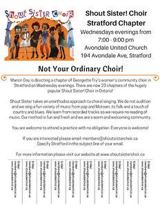 Shout Sister Choir Stratford is Welcoming New Members! Stratford Kitchener Area image 1