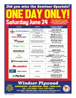 COME TO WINDSOR PLYWOOD CLAREVIEW THIS SATURDAY JUNE 24 AND SAVE