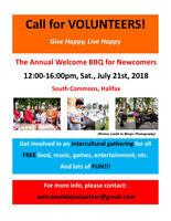 Volunteer Wanted - Annual Welcome BBQ for Newcomers 2018