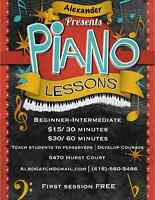 Private Piano Lessons | Beginner - Intermediate |