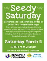 SEEDY SATURDAY @ the Brockville Public Library