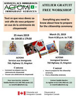 Services aux Immigrants ACFOMI- Ateliers Gratuits
