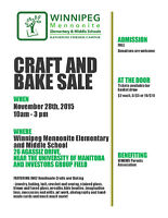 Craft and Bake Sale - WMEMS School