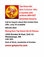 BACK TO SCHOOL OFFER RISING SUN TAE KWON-DO LESSONS