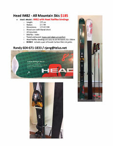 Head Skis •IM82 $185 with Head Railflex bindings