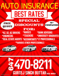 BEST AUTO INSURANCE RATES CALL 647-470-8211