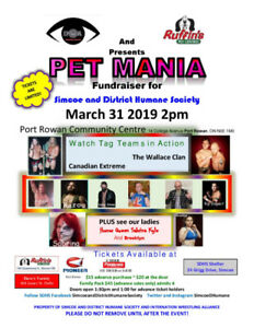 Petmania pro wrestling fundraiser tickets for March 31st