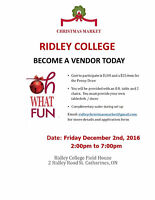 Ridley College Christmas Market 2016 - Vendors Wanted!