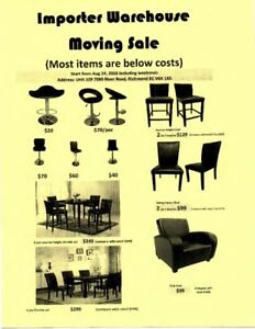 Importer warehouse moving sale