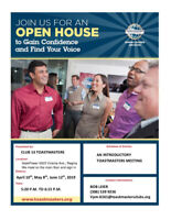 Club 13 Toastmasters - Open House dates