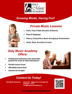 Private Music Lessons - Special Offer – 2 FREE 1/2hr lessons! Stratford Kitchener Area image 1