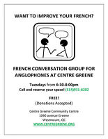 CENTRE GREENE - volunteer needed for French Conversation Group