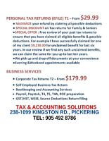 TAX & ACCOUNTING SERVICES IN PICKERING/AJAX/WHITBY