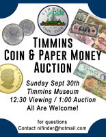 TIMMINS COIN & PAPER MONEY AUCTION SEPT 30