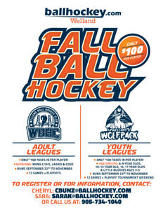 Ballhockey.com Welland Fall Adult and Youth Registration $100