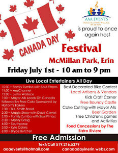 Canada Day Celebration in Erin Hosted by AAA Events