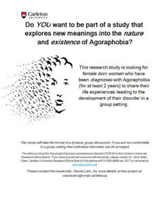 Seeking Research Participants for Study on AGORAPHOBIA and WOMEN