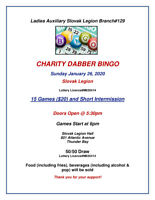 R.C.L. LADIES AUXILIARY SLOVAK BRANCH 129 CHARITY DABBER BINGO