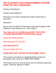 DRY CLEANER TOUCH MANAGEMENT SYSTEM POINT OF SALE PROGRAM !