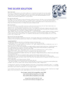 The Silver Solution - Ionic Silver / Colloidal Silver Kitchener / Waterloo Kitchener Area image 1