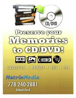 Preserve/Copy Photos, LPs, VHS, 8mm, DVD, Audio to CD/DVD