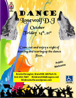 LoneWolf (D.J) Dance 7:30pm Friday October 14th, 21st
