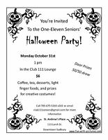 One-Eleven Seniors' Halloween Party, October 31st
