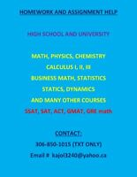 Assignment & Homework help: Math, Physics, Chemistry