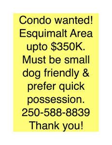 Condo needed! Esquimalt Area up to $350K w/small dog
