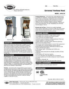 Wells Ventless Hood with fire suppression and electric fryer