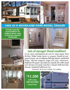 1993 Woodland Park Model 40' - must be moved