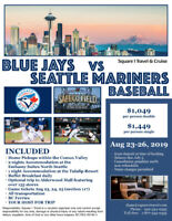 Blue Jays Baseball in Seattle Package from Vancouver Island