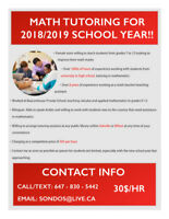 Math Tutoring for High School Students - 2018/2019 School Year