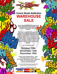 Warehouse Sale at COMIC BOOK ADDICTION - October15, 9 am to 4 pm Peterborough Peterborough Area image 1
