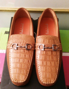New Men's Gator & Suede Loafers - Brandy Colour - Size 10.5-11