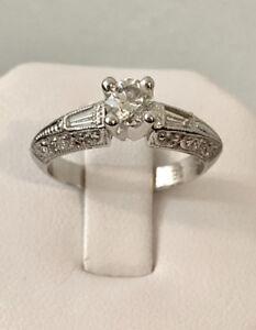 14K White Gold Custom Crafted Diamond Engagement Ring >Stunning