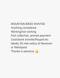 Mountain Bikes wanted