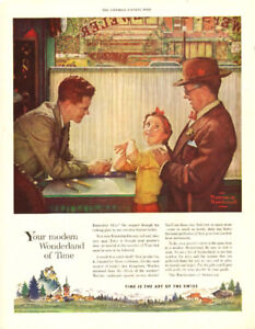 1955 full-page Norman Rockwell ad for Watchmakers of Switzerland