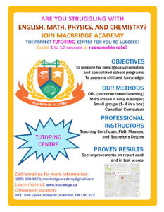 Great Tutoring Academy for Math, Phys, Chem, and English!!!