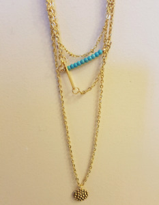 14k Plated Gold Layered Necklace BNWT
