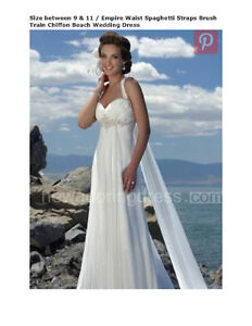 Beach Wedding Dress-Empire waist, Beautiful Beaded, Chiffon
