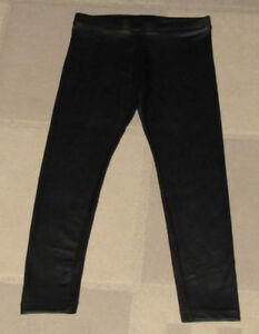 Zara, kids faux leather leggings (black), size 7.