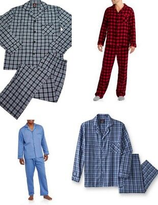 Hanes Mens Pajamas Red and Black Plaid Christmas