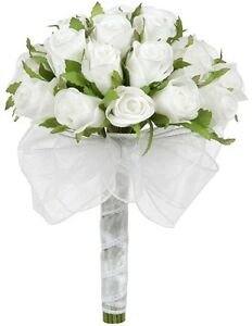 White Silk Rose Bud Hand Tie (2 Dozen Roses) - Bridal Wedding Bouquet
